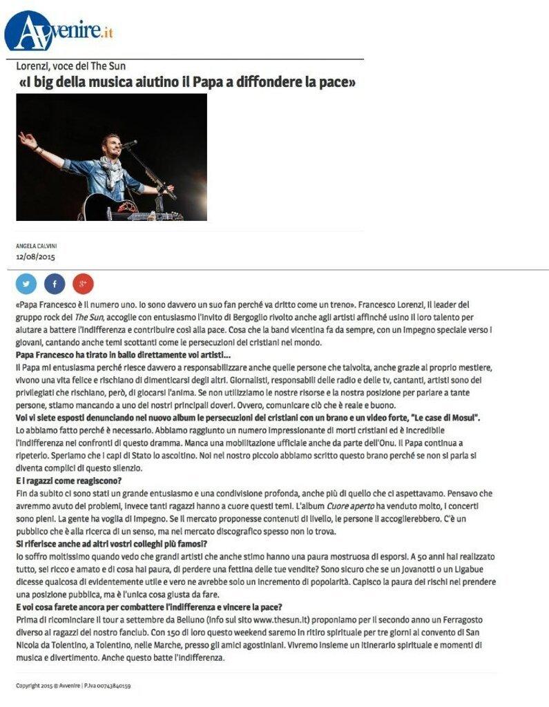Intervista Avvenire Francesco Lorenzi